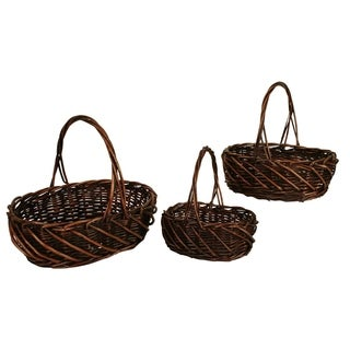 Wald Imports Dark Stained Willow Baskets (Set of 3)