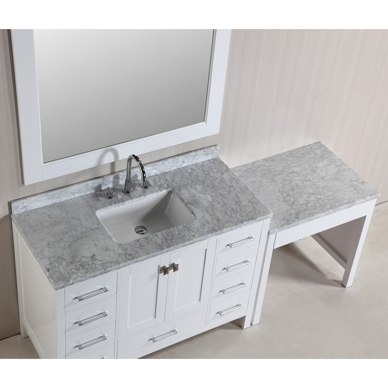 Design Element London 78 Inch Single Sink White Vanity Set With Makeup Table And Bench Seat Overstock 9505982
