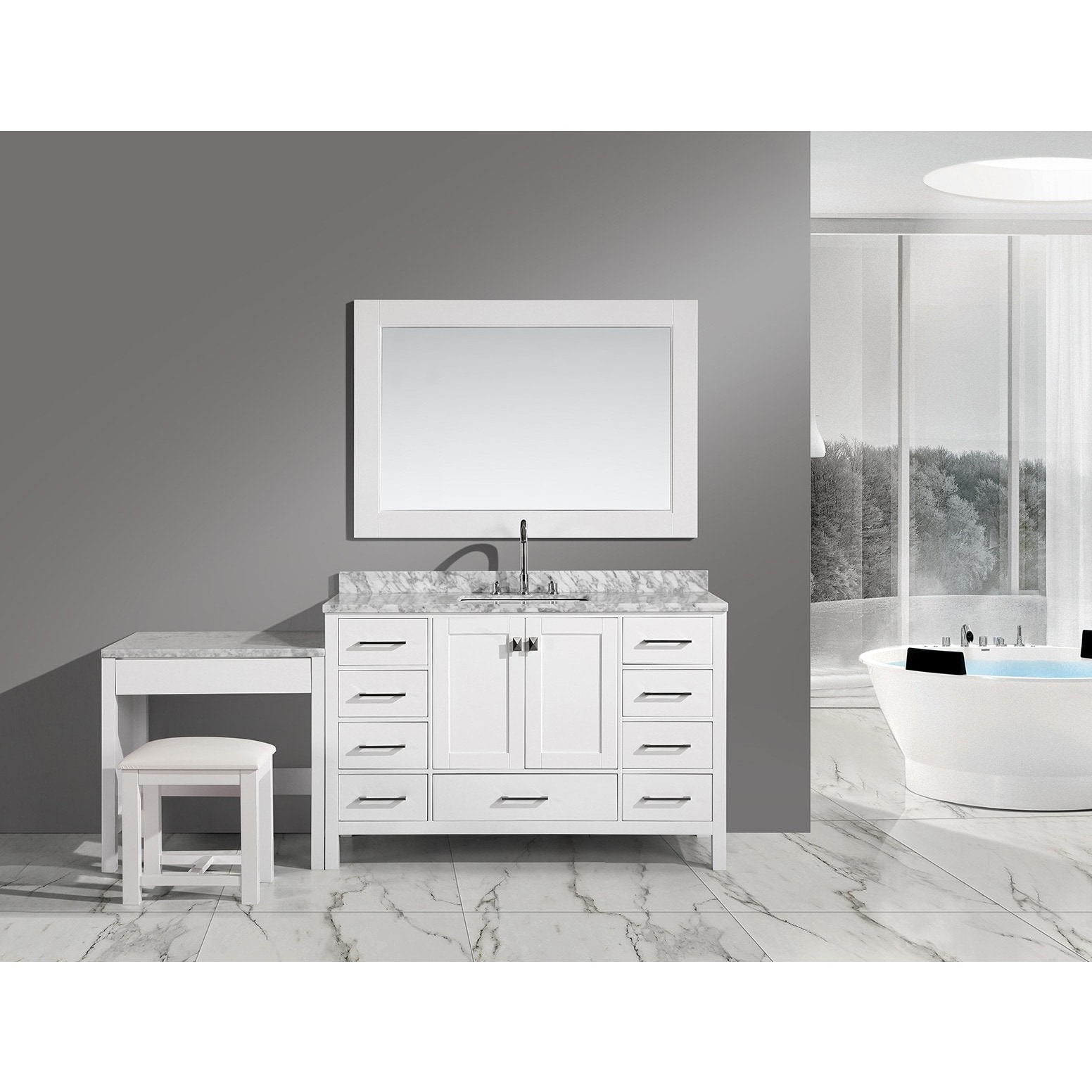 Shop Black Friday Deals On Design Element London 78 Inch Single Sink White Vanity Set With Makeup Table And Bench Seat Overstock 9505982