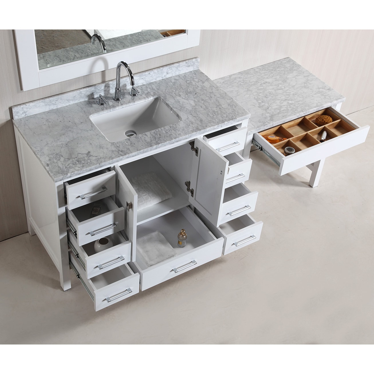 Design Element London 78 Inch Single Sink White Vanity Set With Makeup Table And Bench Seat