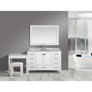 Design Element London 78-inch Single Sink White Vanity Set with Makeup Table, and Bench Seat