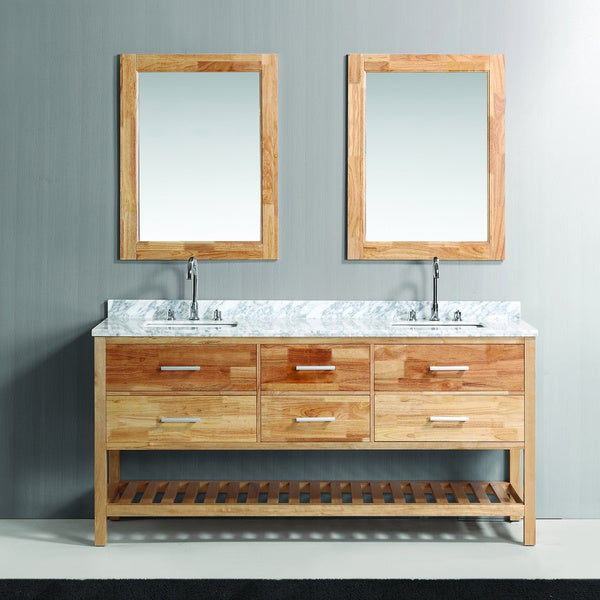 Design Element London 72 Inch Oak Finish Double Sink Vanity Set With Mirror