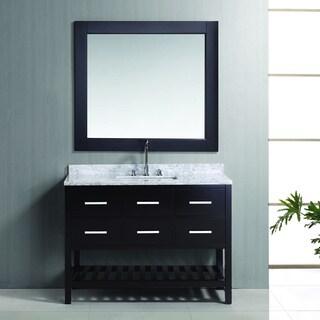 Design Element London 48-inch Espresso Single Sink Vanity Set with Framed Mirror