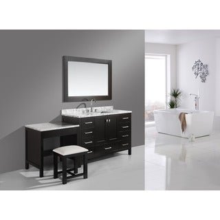 Design Element London 78-inch Single Sink Espresso Vanity Set with Makeup Table, and Bench Seat