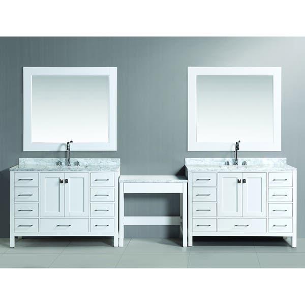 Design Element London 126 Inch Single Sink White Vanity