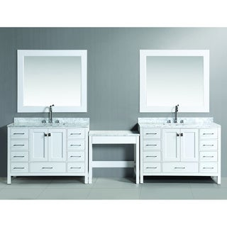 Design Element London 126-inch Single Sink White Vanity Set with Makeup Table, and Bench Seat