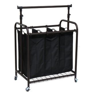 Oceanstar 3-bag Bronze Rolling Laundry Sorter with Adjustable Hanging Bar