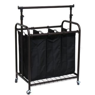 Oceanstar 3-bag Bronze Rolling Laundry Sorter with Adjustable Hanging Bar