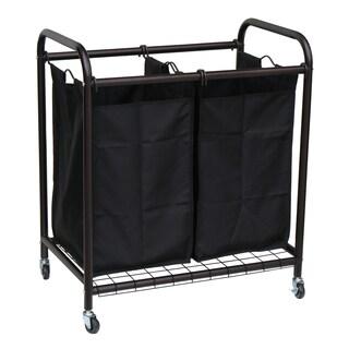 Oceanstar Bronze 2-bag Rolling Laundry Sorter