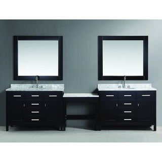 Design Element London Espresso 48-inch Single Sink Vanity Set with Makeup Table and Matching Bench Seat