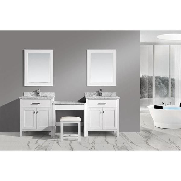 Shop design element two london white 30 inch single sink - 30 inch single sink bathroom vanity ...