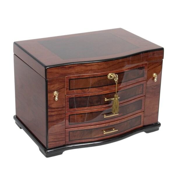 Poplar jewelry box with burl wood inlay free shipping for Reed barton athena jewelry box