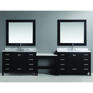 Design Element London 126-inch Single Sink Espresso Vanity Set with Makeup Table, and Bench Seat
