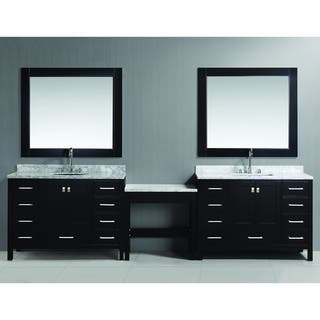 espresso vanity set with bench. Design Element London 126 inch Single Sink Espresso Vanity Set with Makeup  Table and Bathroom Vanities Cabinets For Less
