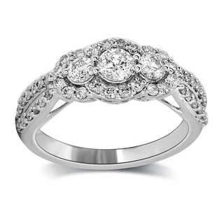 14k White Gold 1ct TDW Certified Diamond Engagement Ring (H-I, I1-I2)
