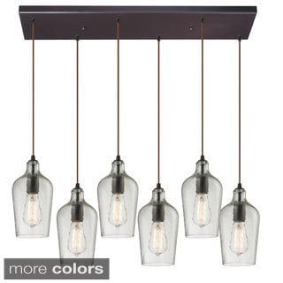 Elk Lighting 6-light Oil Rubbed Bronze Hammered Glass Chandelier