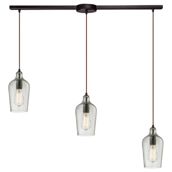 Elk Lighting 3-light Hammered Glass Chandelier