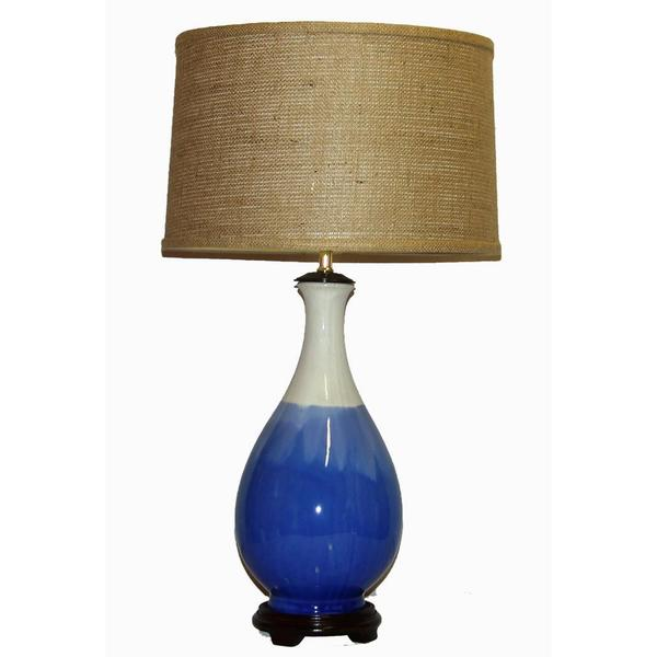 Crown Lighting 1-light Blue and White Drip Ceramic Table Lamp
