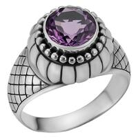 Handmade Sterling Silver Amethyst Cawi Solitaire Ring (Indonesia)