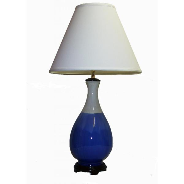 Crown Lighting 1-light Blue and White Drip Finish Ceramic Table Lamp
