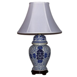 Crown Lighting 1-light Large Blue and White Porcelain Traditional Symbol Table Lamp
