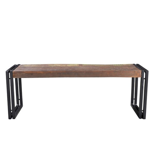 Excellent Shop Handmade Old Wood Bench With Metal Legs India On Gmtry Best Dining Table And Chair Ideas Images Gmtryco
