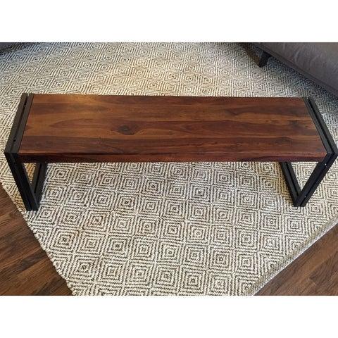 Handmade Timbergirl Reclaimed Seesham Wood Bench with Metal Legs (India)