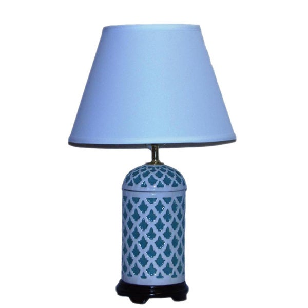Crown Lighting 1-light Turquoise with White Geometric Pattern Ceramic Table Lamp