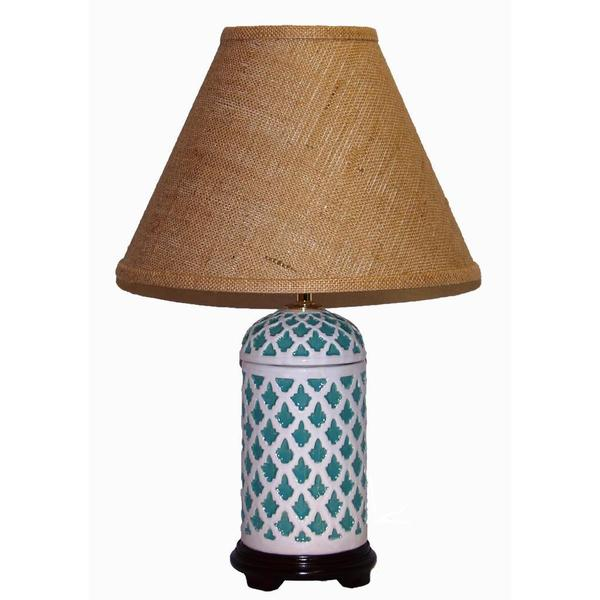 Crown Lighting 1-light Turquoise/ White Geometric Pattern Ceramic Table Lamp