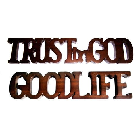 Handmade D-Art Trust in God and Good Life Mahogany Wood Signs (Indonesia)