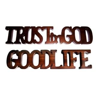 D-Art Handmade 'Trust in God' and 'Good Life' Mahogany Wood Sighs