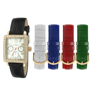 Peugeot Women's 677G Crystal Bezel Interchangeable Leather Strap Watch Set (Option: White)
