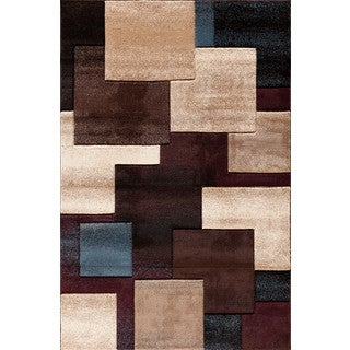 Somette Pinnacle Strie Blocks Black/ Multi Area Rug (7'10 x 9'10)