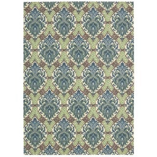 Waverly Treasures Dress Up Damask Blue Jay Area Rug by Nourison (5' x 7')