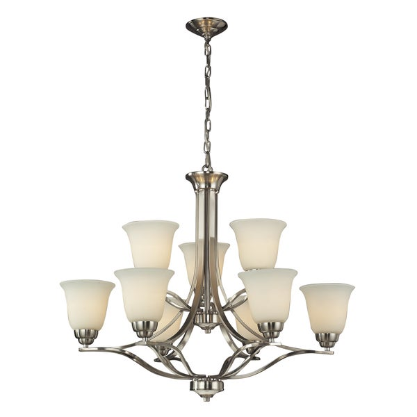 Elk LIghting Malaga 6+3-light Brushed Nickel Chandelier