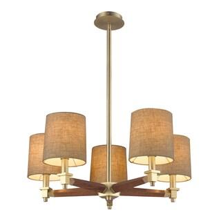 Elk Lighting Jorgenson 5-light Mahogany/ Satin Brass Chandelier