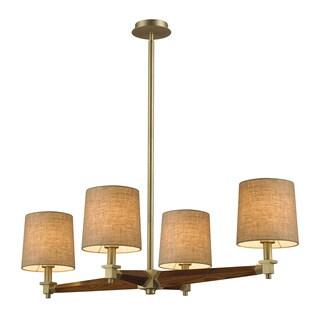 Elk Lighting Jorgenson 4-light Mahogany/ Satin Brass Chandelier