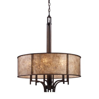 Elk Lighting Barringer 6-light Aged Bronze and Tan Mica Shade Pendelier