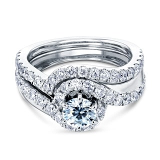 Annello by Kobelli 14k White Gold 1 2/5ct TDW Round-cut Diamond Bridal Rings Set