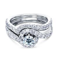 Annello by Kobelli 14k White Gold 1 2/5ct TDW Round-cut Diamond Bridal Rings Set