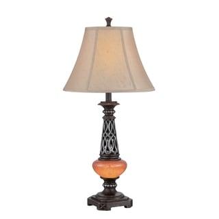 Lite Source Ellis 2-light Table Lamp Dark Bronze with Amber and Beige
