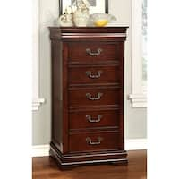 Furniture of America Bastillina Elegant Cherry Jewelry Chest