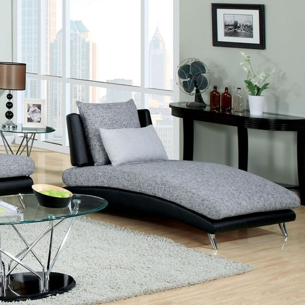 Furniture of America Fala Contemporary Grey Fabric Chaise Lounge