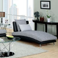 Furniture of America Kanchy Two-tone Fabric and Leatherette Chaise