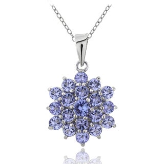 Glitzy Rocks Sterling Silver 2 2/5ct Tanzanite Cluster Necklace