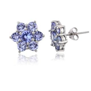 Glitzy Rocks Tanzanite Flower Earrings