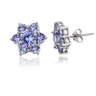 Glitzy Rocks Sterling Silver Tanzanite Flower Stud Earrings