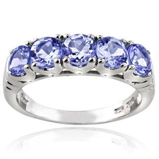 Glitzy Rocks Sterling Silver 5-stone Tanzanite Eternity Ring