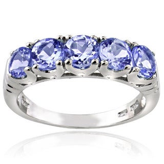 Glitzy Rocks Sterling Silver 5-stone Tanzanite Eternity Ring