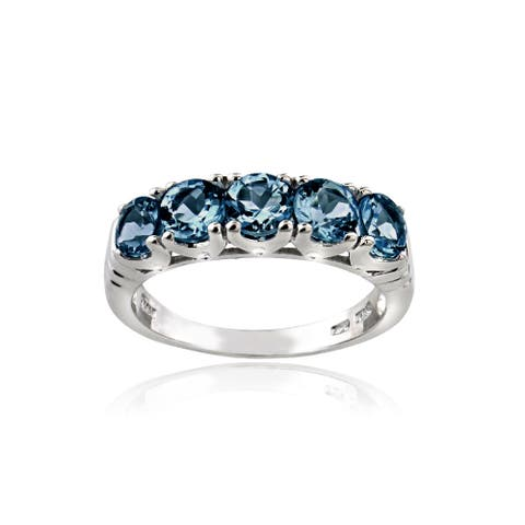 Glitzy Rocks Sterling Silver 5-stone London Blue Topaz Eternity Ring